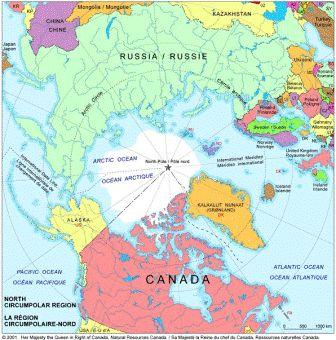 Les pays d'Europe et d'Amérique qui bordent l'Arctique