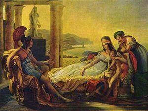 Enée racontant à Didon les malheurs de la ville de Troie.