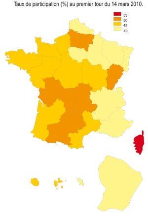 Taux de participation (%) au premier tour du 14 mars 2010