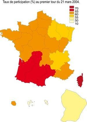 Taux de participation (%) au premier tour du 21 mars 2004