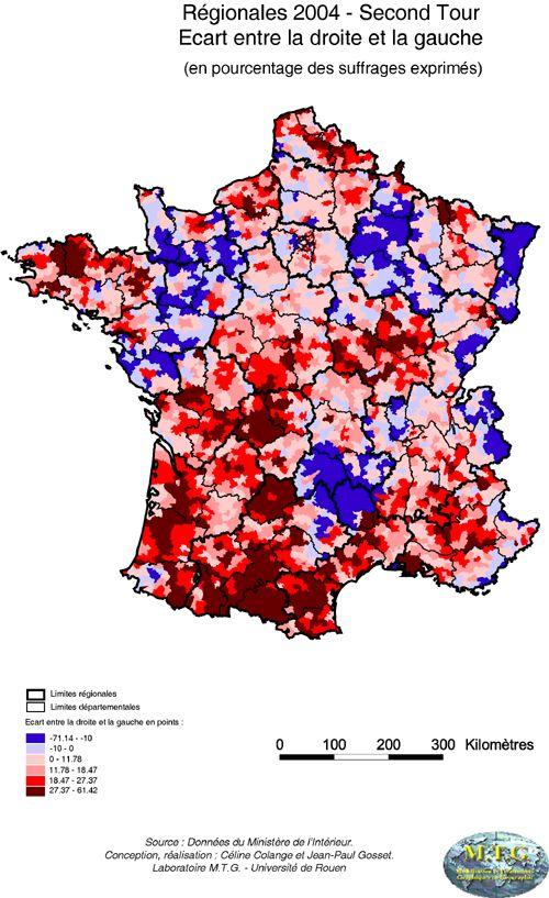 Régionales 2004, écart droite/gauche