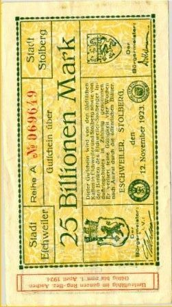 Un billet de 25 000 000 000 MARK (1923)