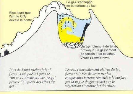 Premier scénario explicatif de la catastrophe du Nyos : éboulement, mélange des zones du lac et libération du gaz carbonique