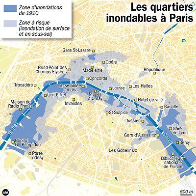 Les quartiers inondables à Paris