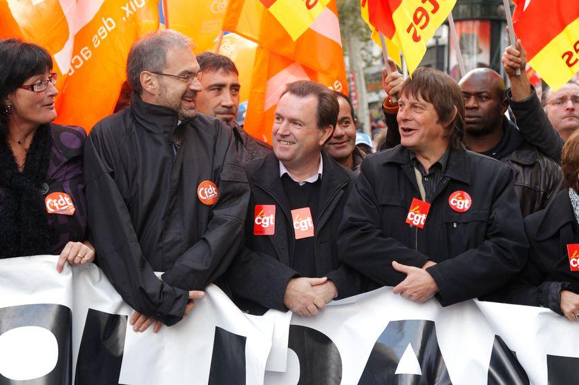 François Chérèque et Bernard Thibault, dans le cortège parisien du 28 octobre 2010