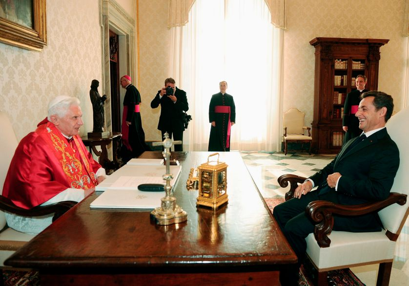 Benoît XVI avec Nicolas Sarkozy le 8 octobre 2010