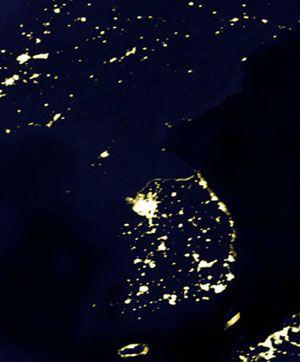 La Corée du Nord par satellite : pas d'électricité