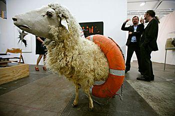 octobre 2008. Installation intitulée « le Disciple » par l'artiste Jonathan Monk à la Foire d'Art de Londres, Frieze Art Fair.