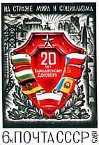 Timbre soviét. pour les 20 ans du P. de Varsovie