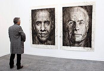 « L'élection américaine : Obama/McCain 2008 » par l'artiste Yan Pei-Ming à la FIAC 2008.