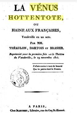 Un vaudeville sur la Venus Hottentote en 1814