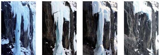 De gauche à droite : 2 janvier 2009 (le grimpeur donne l'échelle), 13 Mars 2009, 16 mars 2009, 18 mars 2009