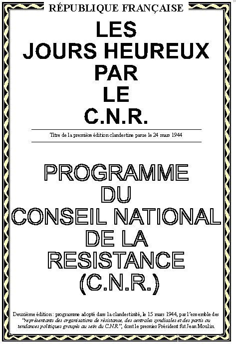 Le programme de la Résistance