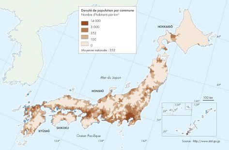 Densité de population par commune, Japon