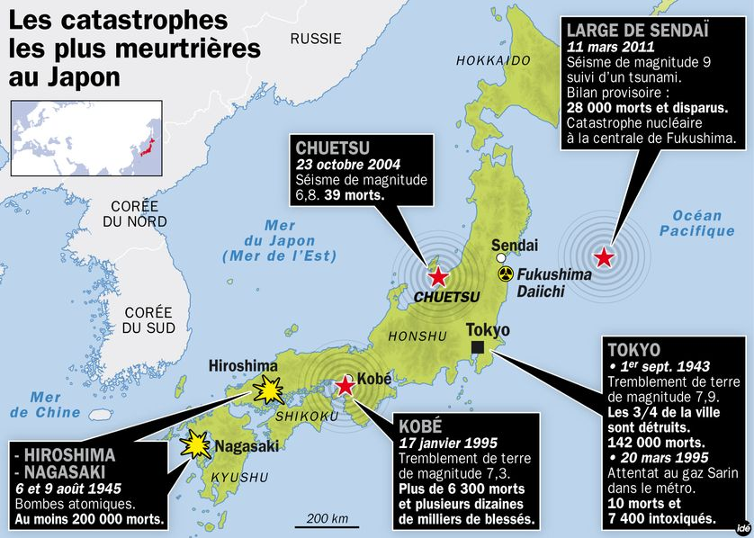 Les catastrophes les plus meurtrières au Japon