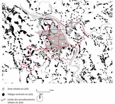 La ville et les villages. En 2010, cent quarante-huit villages sont situés à l'intérieur des limites des arrondissements urbains