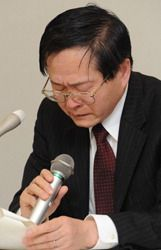 Professor Toshiso Kosako during a press conference held at the Diet building on April 29, 2011,