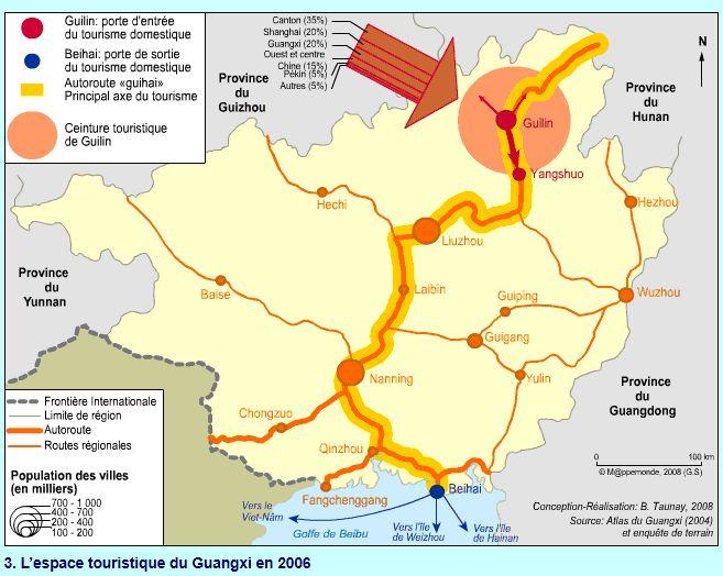 Provenance des touristes chinois à Beihai en 2006
