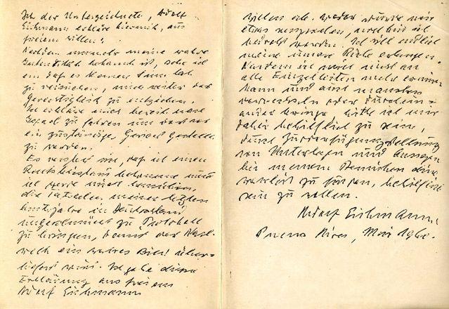 Lettre de reddition rédigée en Argentine par Adolf Eichmann à la demande des agents du Mossad.