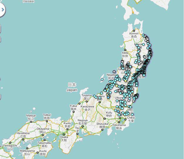 Carte des abris connus par Google