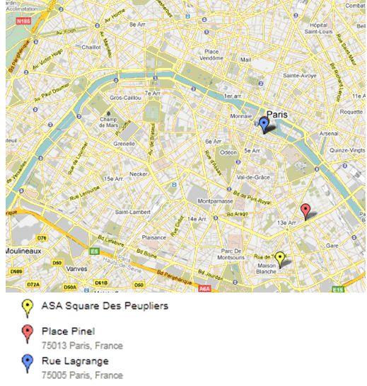 Paris, Localisation des lieux d'étude