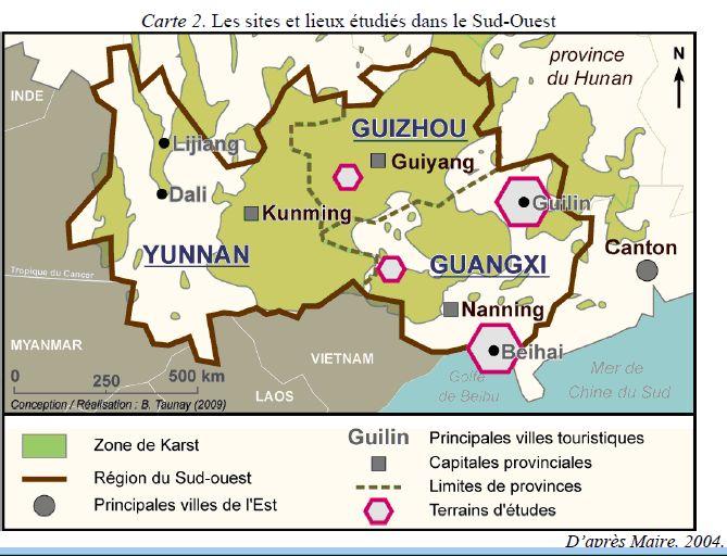 Les sites et lieux étudiés dans le Sud-Ouest
