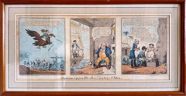 """""""Voyage de Napoléon à l'île d'Elbe et à Sainte-Hélène"""" par George Cruikshank (1792-1878), gravure satirique coloriée"""