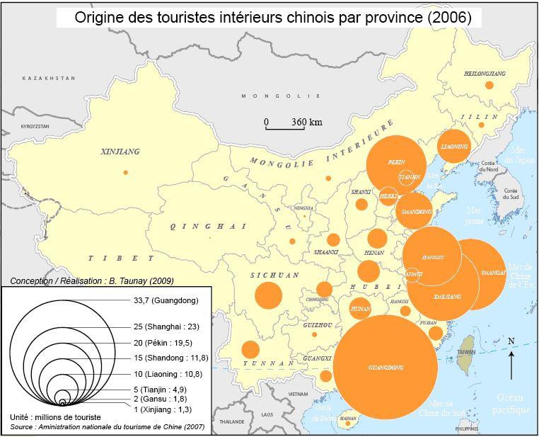 Origines des touristes intérieurs chinois par province