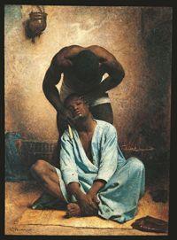 Léon Bonnat - Le barbier nègre à Suez - huile sur toile, 80 x 58,5 cm Curtis Galleries, Minneapolis, Minnesota.