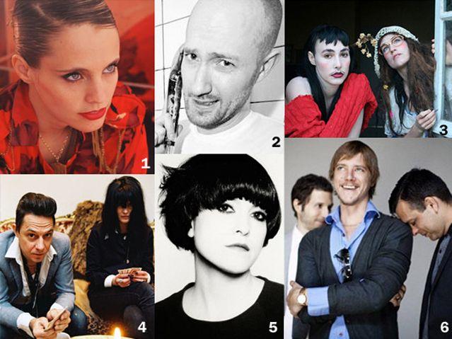 1 - Anna Calvi / 2 - Paul Kalkbrenner  / 3 - Cocorosie  / 4 - The Kills / 5 Keren Ann / 6 Interpole