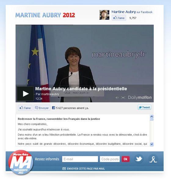 Page d'accueil de martineaubry.fr