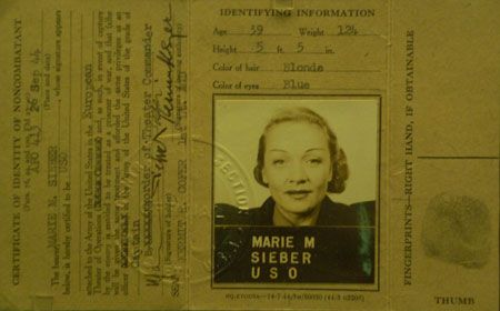 Carte d'identité de la soldate Marlène D épouse Sieber