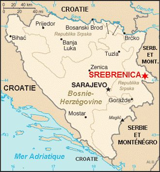 Srebrenica sur une carte