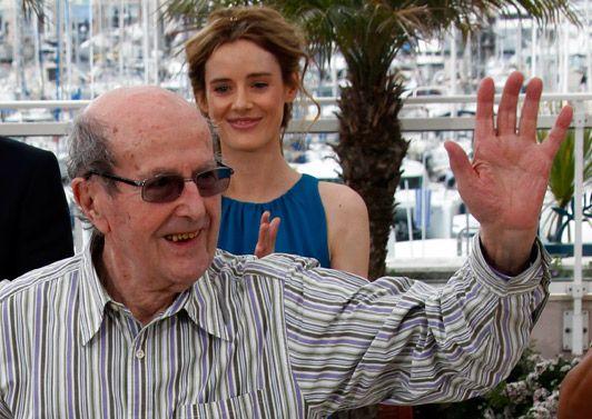 Manoel de Oliveira pendant le photocall. Juste derrière lui, Pilar Lopez