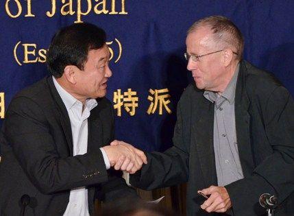 Frédéric Charles avec Thaksin Shinawatra, ancien premier ministre thaïlandais en exil