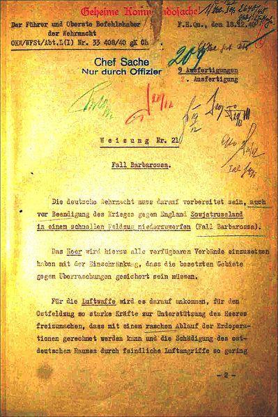 "Opération Barbarossa ""Fall Barbarossa Weisung 21"""