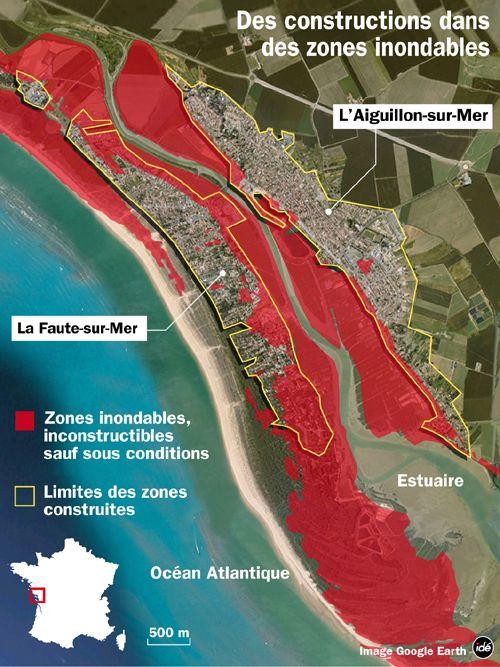 carte de l'Aiguillon-sur-Mer et de La Faute-sur-Mer avec le plan de prévention du risque inondation