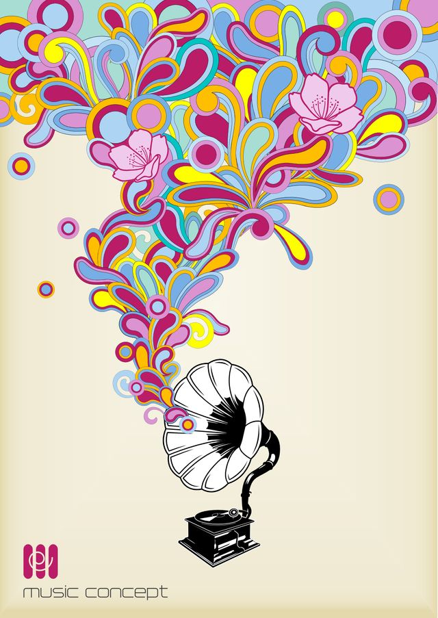 Phonographe, couleur, musique