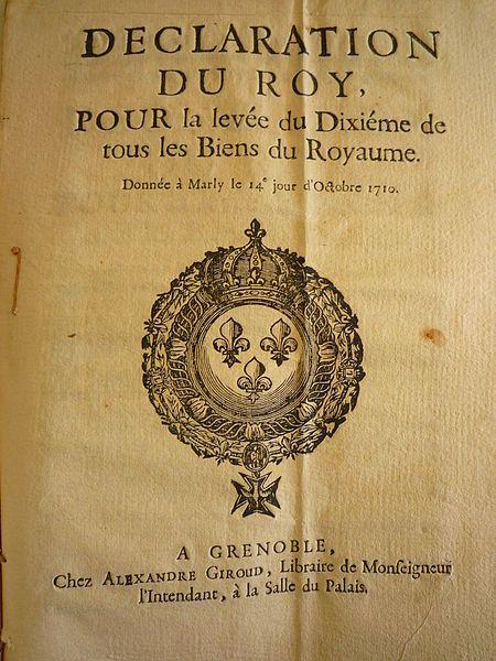 Feuille de garde du texte de l'impôt du Dixième demandé par le roi Louis XIV le 14 octobre 1710.