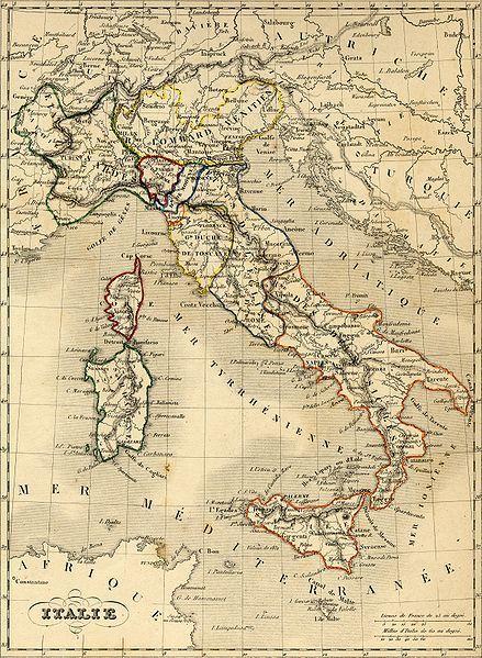 Carte de l'Italie 1843, avant l'unité du pays