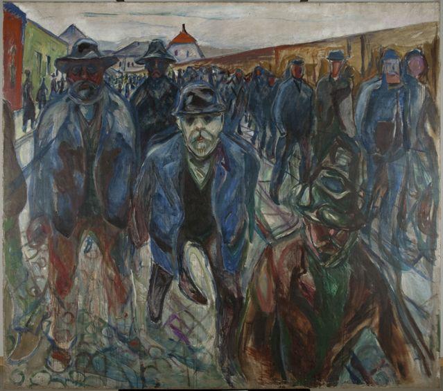 Arbeidere på hjemvei [Travailleurs rentrant chez eux], 1913-14 Huile sur toile, 201 x 227 cm