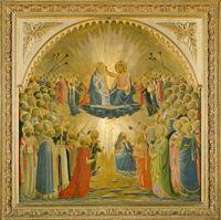 Le Couronnement de la Vierge, 1434-1435, tempera sur bois, 114 × 113 cm Galerie des Offices, Florence