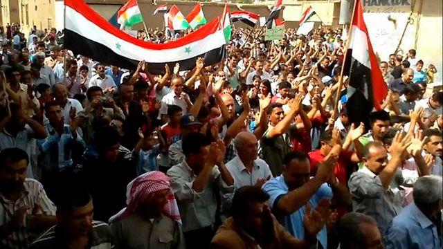 Syrie, manifestation contre Bachar al-Assad à Amuda le 30 septembre