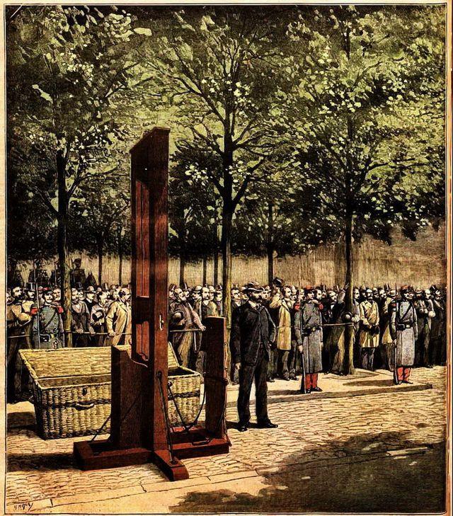"""Le Petit Journal illustré du 8 août 1891 """"La guillotine attend l'arrivée de Doré et de Berland"""""""