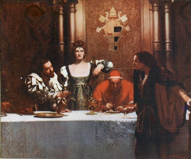 "Tableau ""A Glass of Wine with Caesar Borgia"" de John Collier"