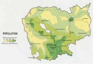 La densité de population du Cambdoge : prééminence de la région de Phnom Penh