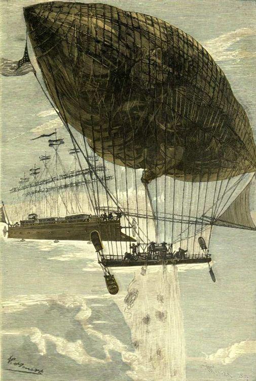 Illustration de Robur le Conquérant par Léon Benett