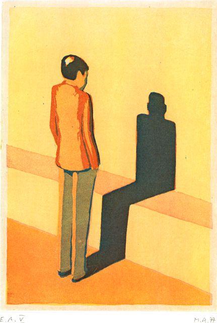 Markus Raetz, Männliche Figur, ihren Schatten betrachtend(Figure masculine contemplant son ombre)Aquatinte 3 couleurs, 1977 Drei