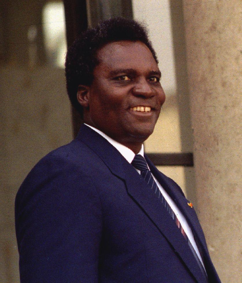 Juvénal Habyarimana lors d'une visite en France le 2 avril 1990