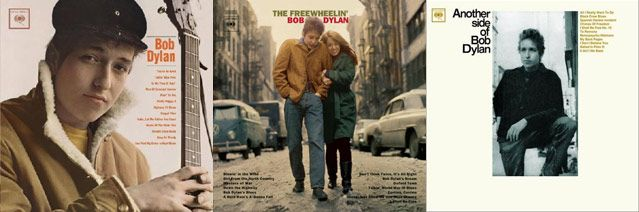 Pochettes des disques, Bob Dylan 1962 - The Freewhelin' Bob Dylan, 1963 - Another Side of Bob Dylan, 1964